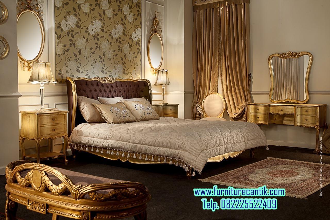 Set Kamar Tidur Cantik Gold Leaf