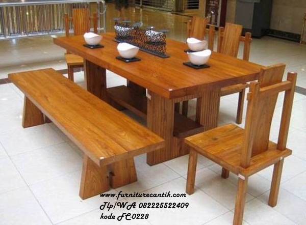 Set Meja Makan Solid Wood