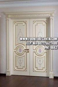Pintu Utama Rumah Mewah Cat Duco Putih