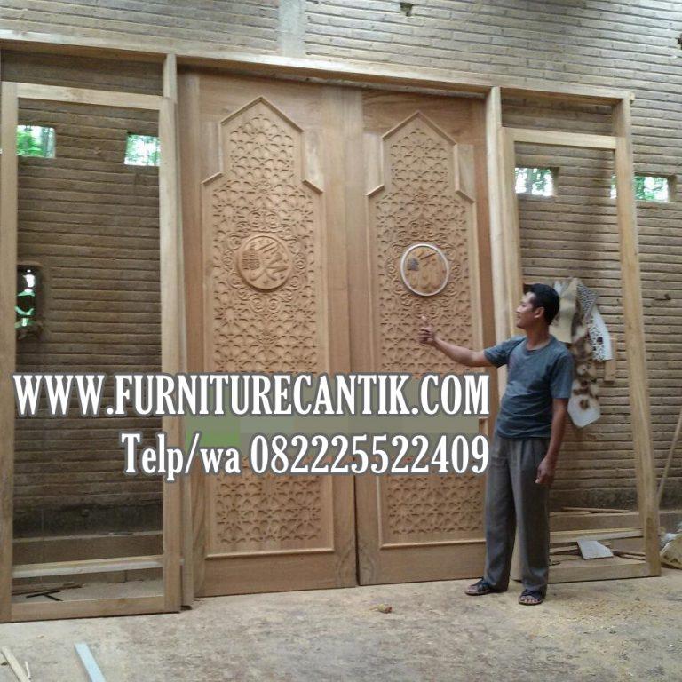 Jual Pintu Kusen Masjid Kayu Jati Model Minimalis Ukiran Kaligrafi