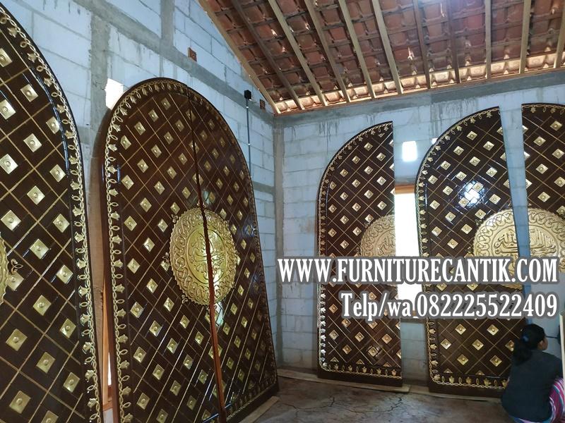 Jual Pintu Masjid Kayu Jati Minimalis Ukir Mewah Arabian