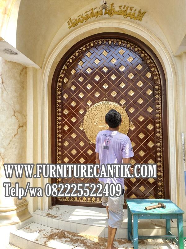 Jual Pintu Masjid Kayu Jati TPK Model Arabian