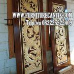 Pintu Rumah Mewah Jati Ukiran Relief Naga