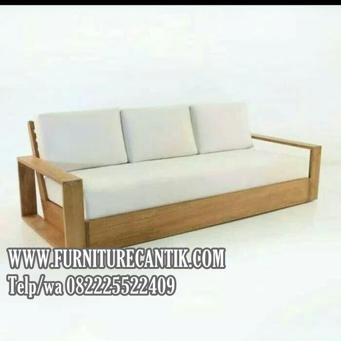 Kursi Sofa Jati Minimalis Bantalan Putih