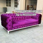 Sofa Santai Jati Kain Bludru Bagus Mewah