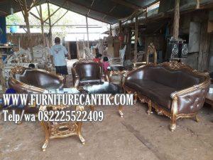 Set Sofa Mewah Jati Ukiran Minimalis Kain Oscar Coklat