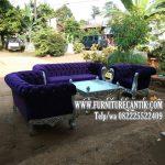 Sofa Ruang Tamu Jati Mewah Kain Bludru