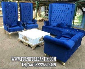 Sofa Tamu Ukiran Mewah Kain Biru