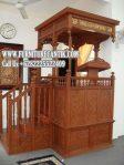 Mimbar Khutbah Masjid Kayu Jati Ukiran Mewah