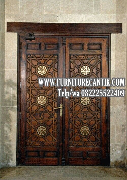 Pintu Masjid Kayu Jati Ornamen Mewah