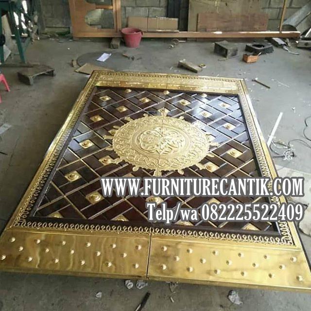 Pintu Masjid Kayu Jati Ukiran Arabic