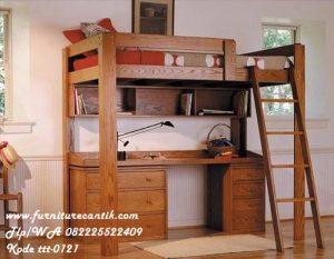 Tempat Tidur Tingkat Jati Dan Meja Belajar