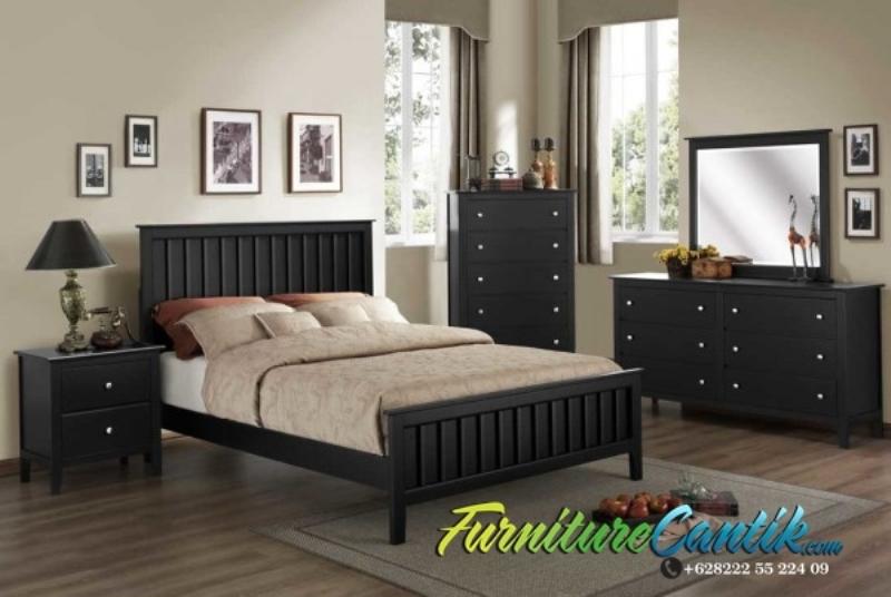 Set Kamar Tidur Minimalis Warna Hitam