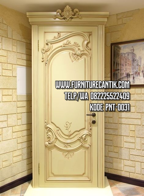 Pintu Rumah Ukiran Klasik Warna Cream