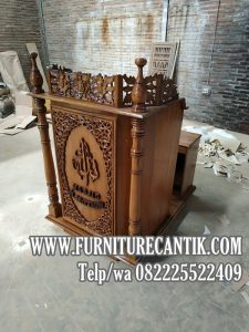 Mimbar Masjid Jati Podium Ukiran Terbaru Klasik