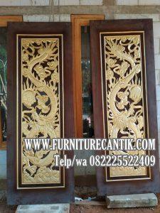 Jual Daun Pintu Jati Rumah Mewah Ukir Relief Naga