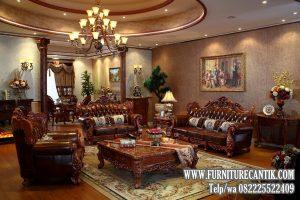 Sofa Ruang Tamu Mewah Ukiran Kayu Jati Tua