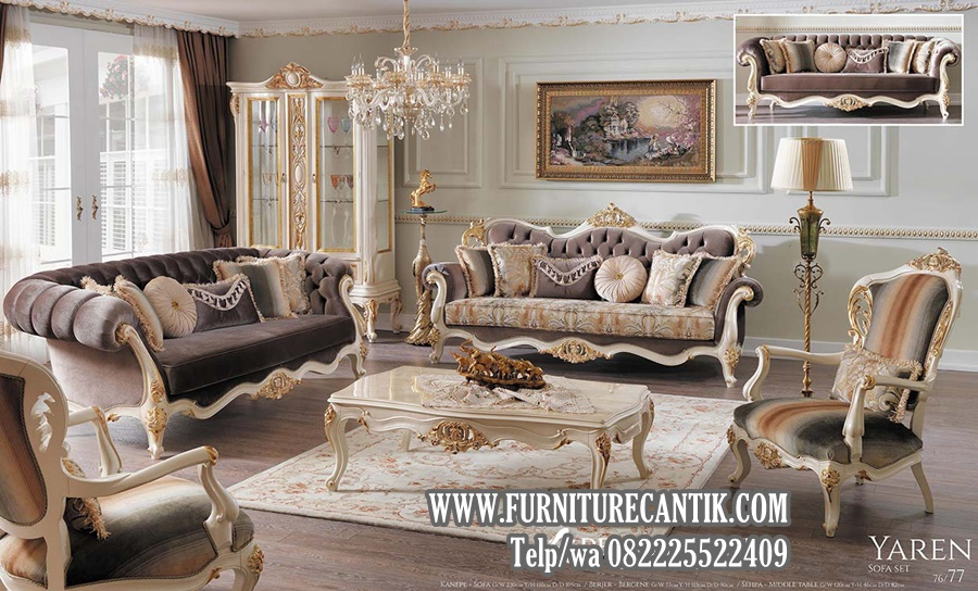 Sofa Tamu Ukiran Mewah Klasik Glossy