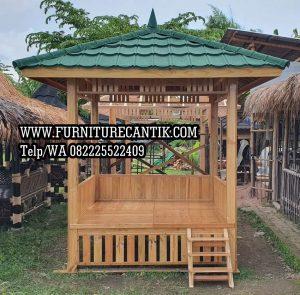 Gazebo Taman Kayu Jati Motif Ukiran