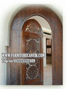 Pintu Masjid Kayu Jati Minimalis Variasi Ukiran