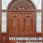 Pintu Rumah Kayu Jati Motif Ukir Eropa